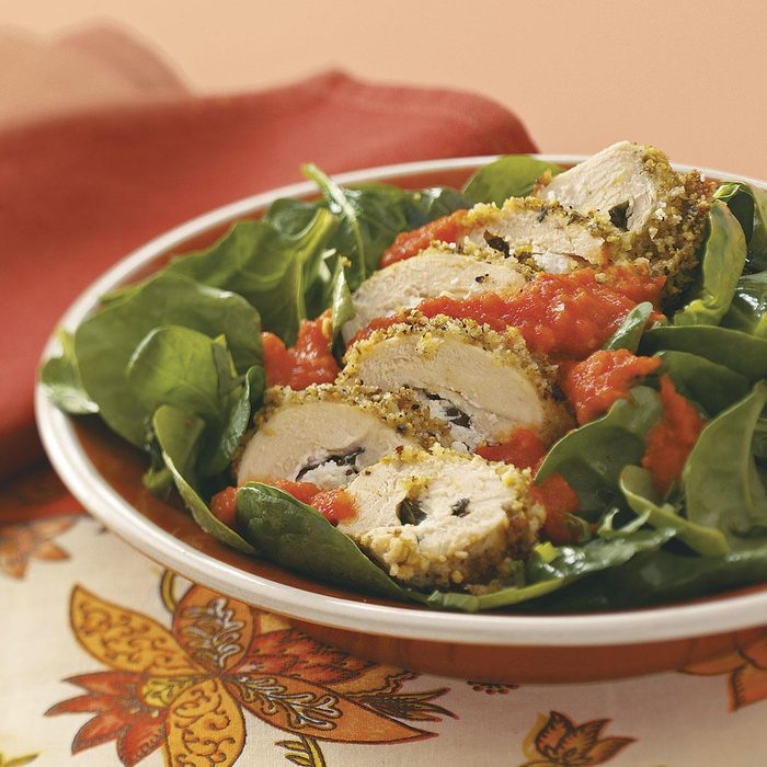 Pistachio-Crusted Chicken with Garden Spinach