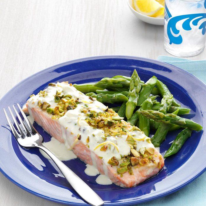 Friday: Pistachio-Crusted Salmon with Lemon Cream Sauce