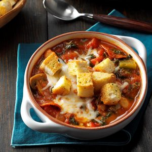 Pizza Soup with Garlic Toast Croutons