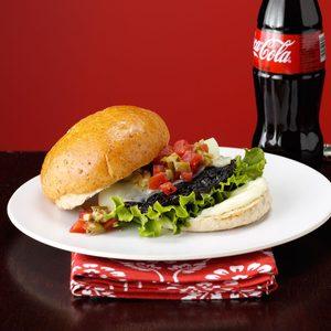Portobello Burger with Muffuletta Topping