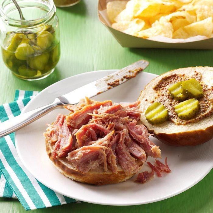 Pressure Cooker Beer-Braised Pulled Ham