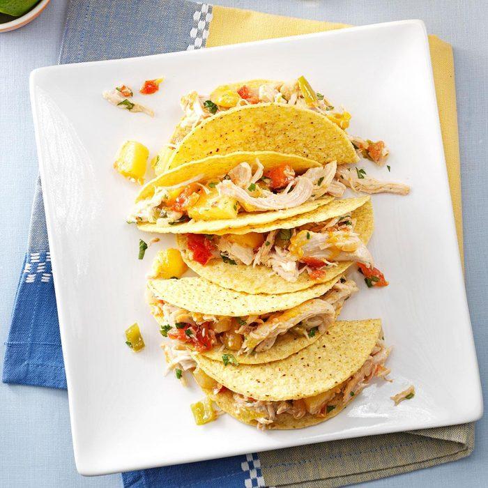 Pressure-Cooker Mango-Pineapple Chicken Tacos