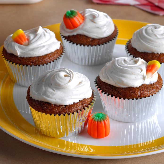 Pumpkin Cupcakes with Spiced Frosting