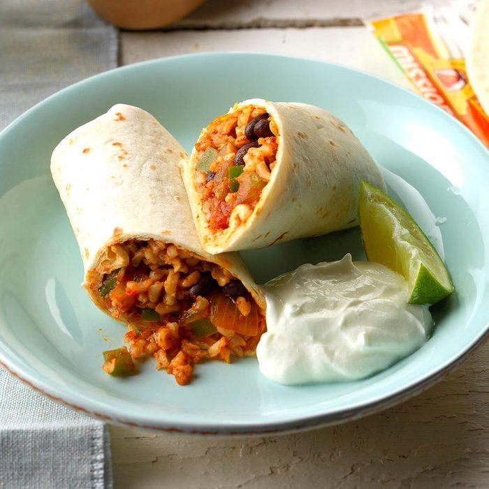Quick Bean and Rice Burritos