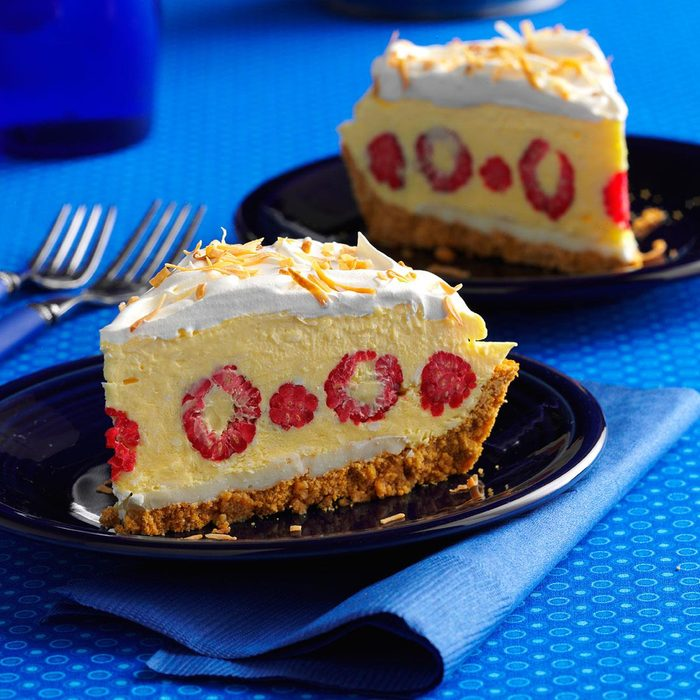 Raspberry Coconut Cream Pie