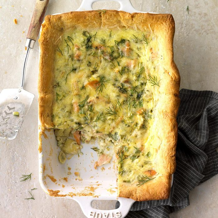 Salmon and Artichoke Quiche Squares