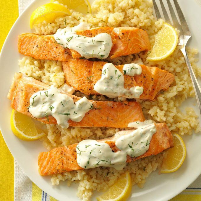 Salmon with Dill Sauce & Lemon Risotto