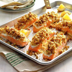 Salmon with Horseradish Pistachio Crust
