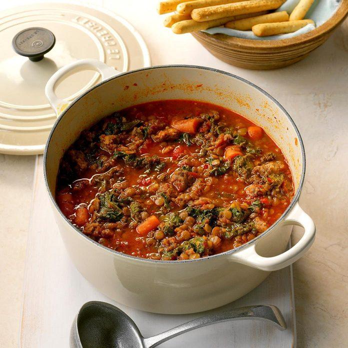 Sausage & Kale Lentil Stew