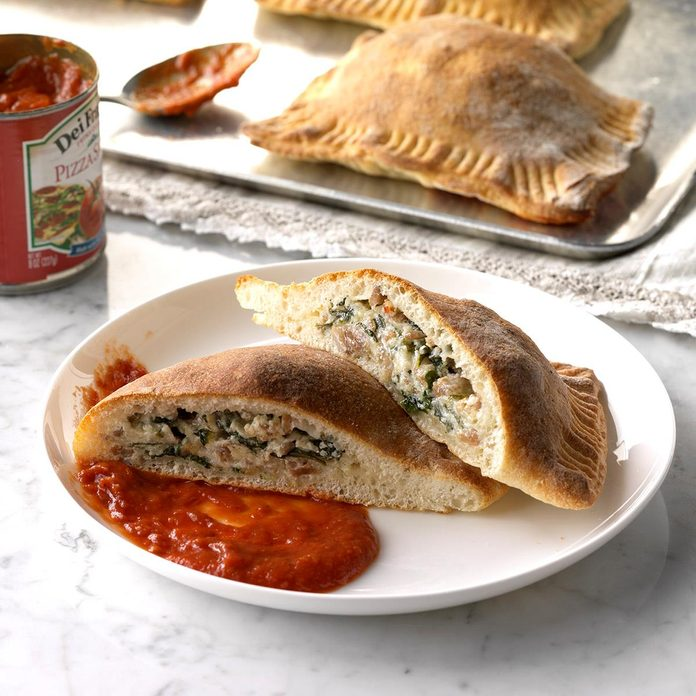 Day 21: Sausage & Spinach Calzones