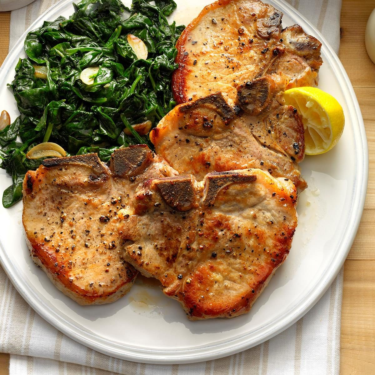 Day 17: Sauteed Pork Chops with Garlic Spinach