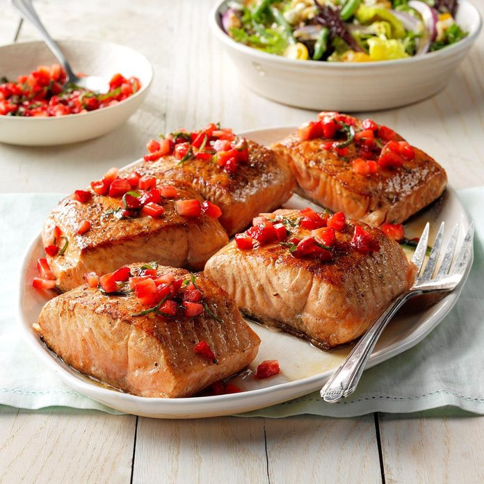 Day 2: Seared Salmon with Strawberry Basil Relish