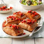 Seared Salmon with Strawberry Basil Relish