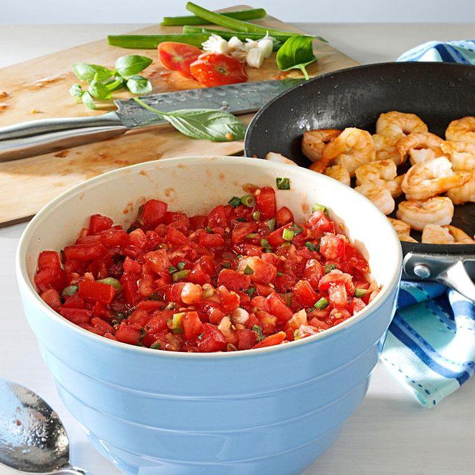 Shrimp Fettuccine with No-Cook Tomato Sauce