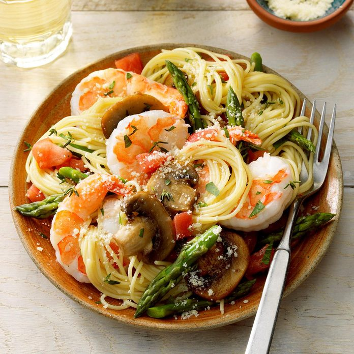 April: Shrimp Pasta Primavera