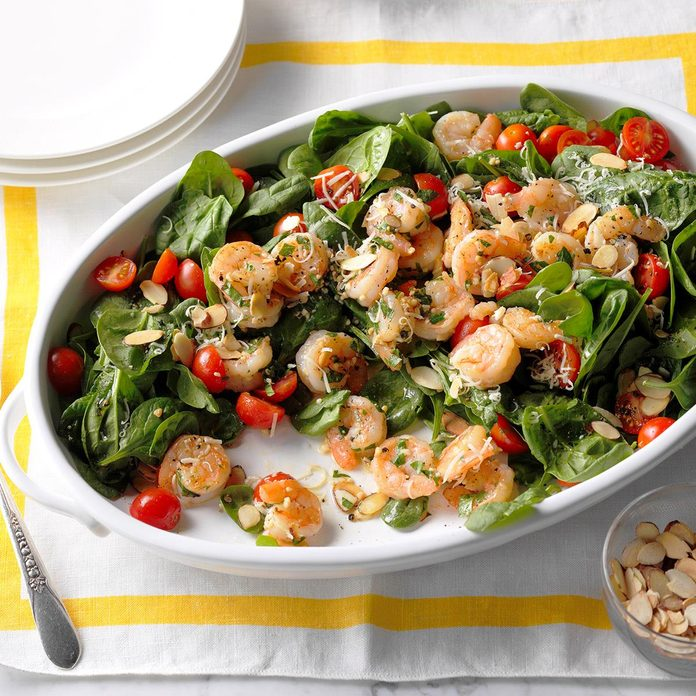 July 7: Shrimp Scampi Spinach Salad