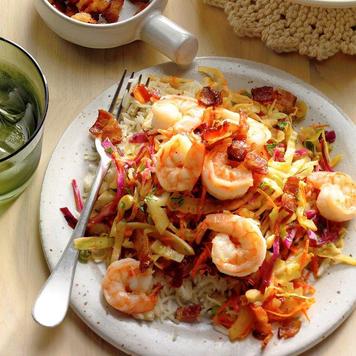 Shrimp with Warm German-Style Coleslaw