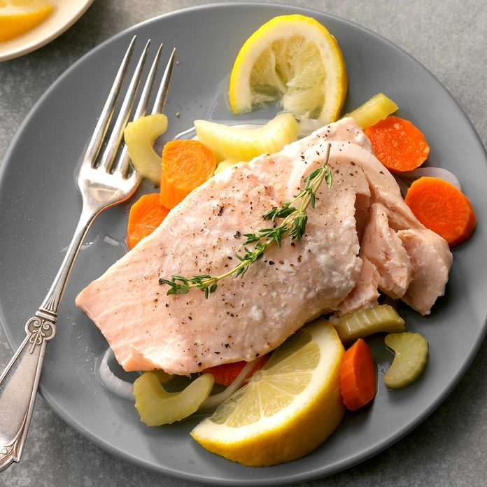 Friday: Simple Poached Salmon