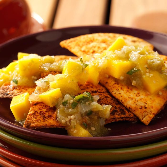 Spiced Chips and Roasted Tomatillo Salsa