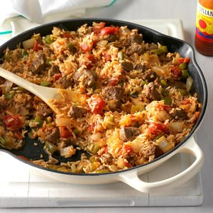 Spicy Cajun Sausage and Rice Skillet