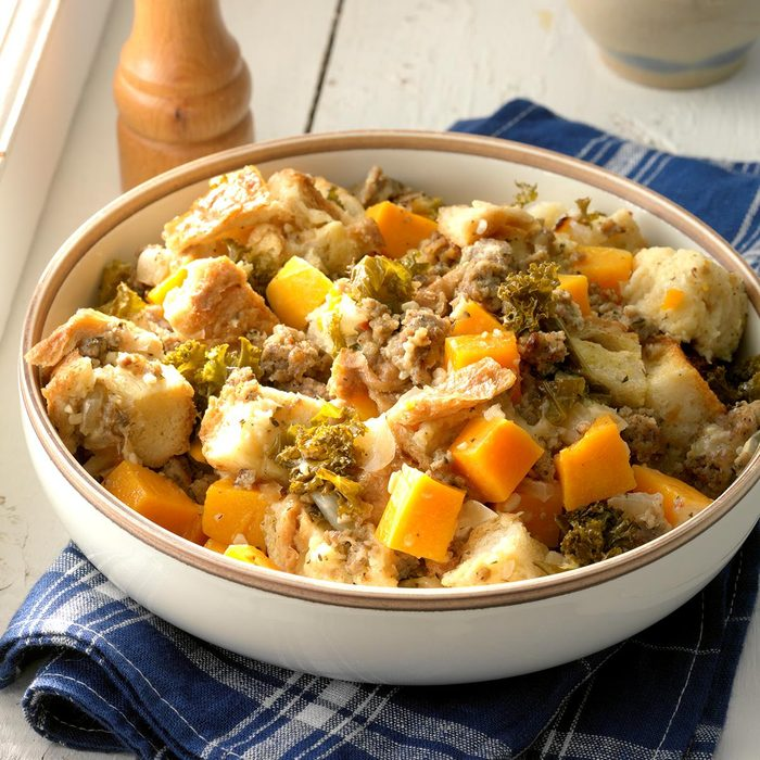 Sausage, Kale and Squash Bread Pudding