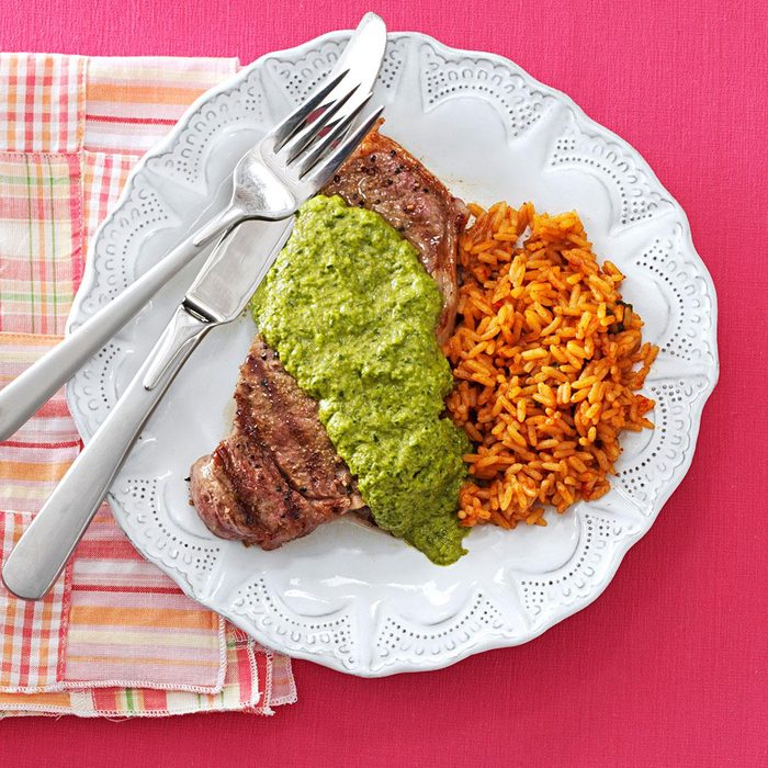 Steakhouse Strip Steaks with Chimichurri