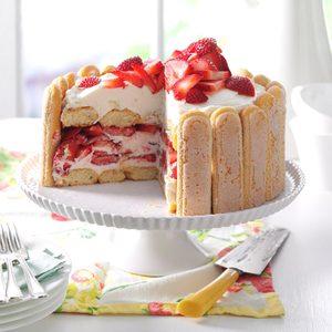 Strawberry Ladyfinger Icebox Cake