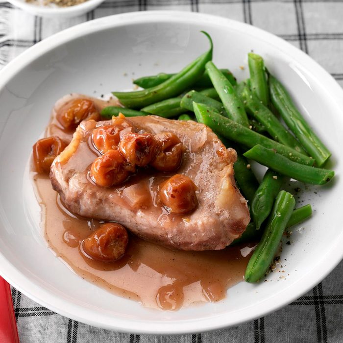 Sweet Onion & Cherry Pork Chops