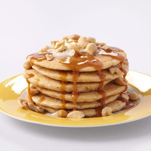 Sweet Potato Pancakes with Caramel Sauce