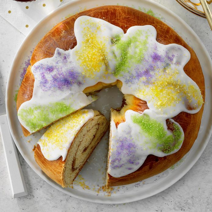 A homemade traditional king cake for Mardi Gras.