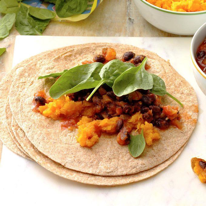 Tropical Squash and Black Bean Burritos