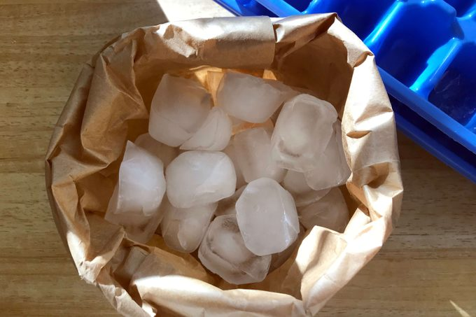 ice cubes in a paper bag