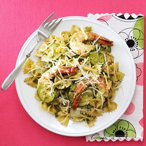 Zucchini Pesto with Shrimp and Farfalle