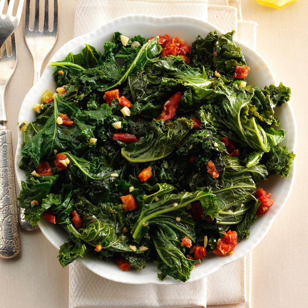 Warm, Tasty Greens with Garlic