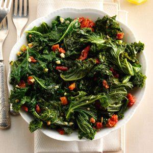 Warm Tasty Greens with Garlic