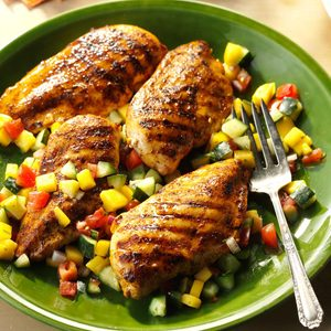 Chicken with Mango-Cucumber Salsa