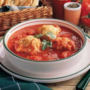 Tomato Soup With Herb Dumplings