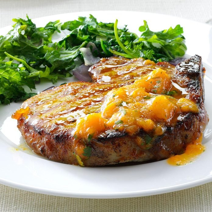 Grilled Curry Pork Chops with Apricot Sauce
