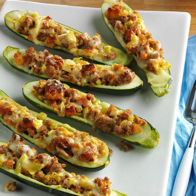 Turkey Sausage Zucchini Boats