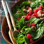 Spinach Salad with Raspberries & Candied Walnuts