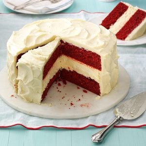 Cheesecake Layered Red Velvet Cake