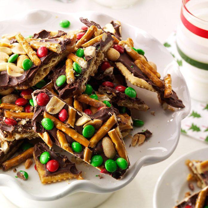 Chocolate, Peanut & Pretzel Toffee Crisps
