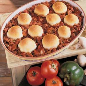 Biscuit-Topped Beef N Beans