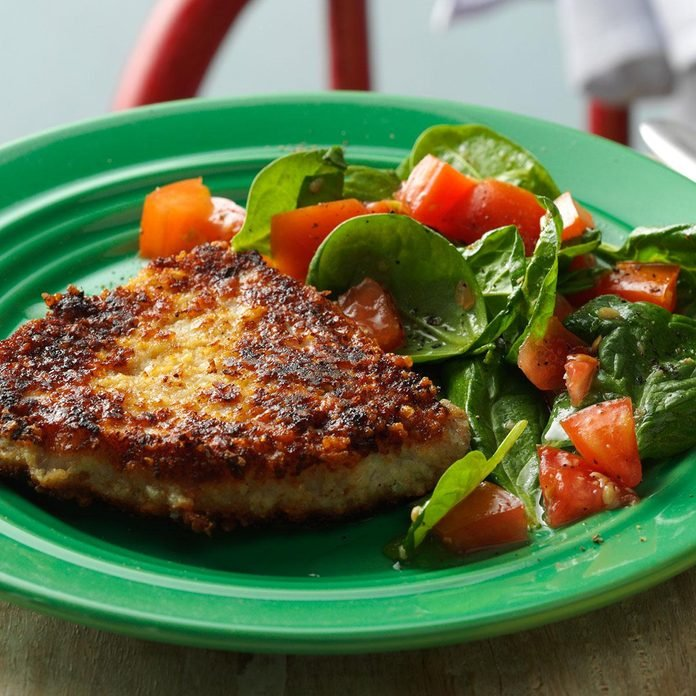 Parmesan Pork Chops with Spinach Salad