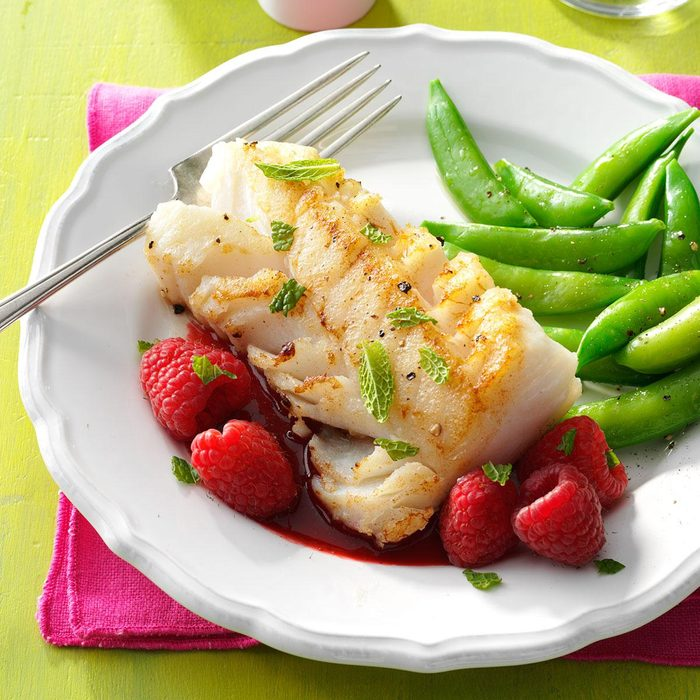 Cod with Raspberry Sauce