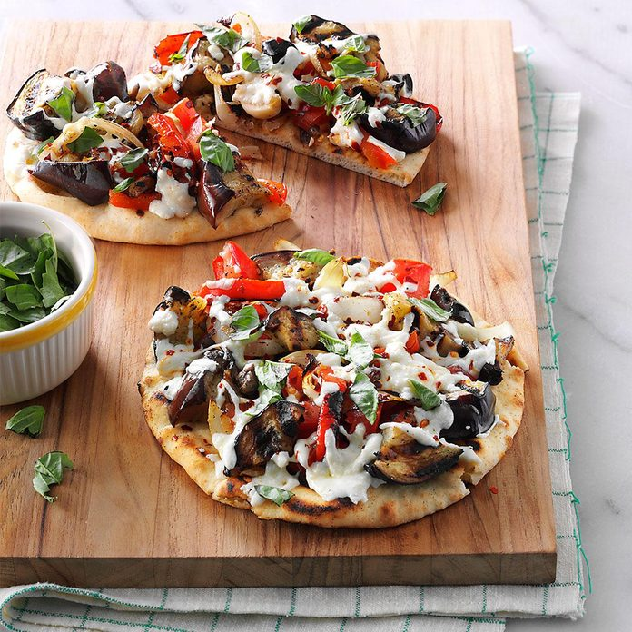 Day 7: Grilled Eggplant Pita Pizzas