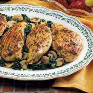 Grilled Chicken Over Spinach