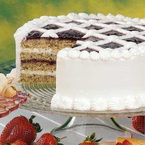 Raspberry Walnut Torte with Cream Cheese Frosting