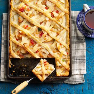 Lattice-Topped Pear Slab Pie