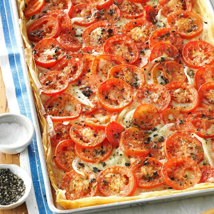 Tomato-Onion Phyllo Pizza